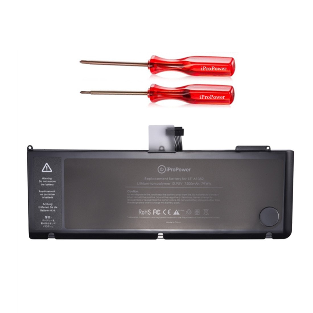 Bateria A1382 para MacBook Pro A1286 15 inch Solo para Early 2011 Late 2011 Mid 2012 Version 7200mAh 10.95V/77.5Wh