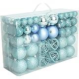100 Weihnachtskugel Eisblau glänzend glitzernd matt Blau Christbaumschmuck bis Ø 6 cm Baumschmuck Weihnachten Anhänger