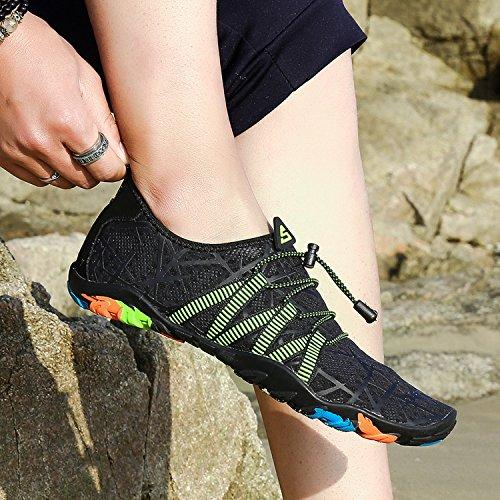 Plage de Chaussures Plage Aquatique avec et Surf pour Plongée Noir Autobloquants Aquatique Femme Lacets Sport Homme Chaussons Natation d'eau de pour Piscine rxYXYqgw