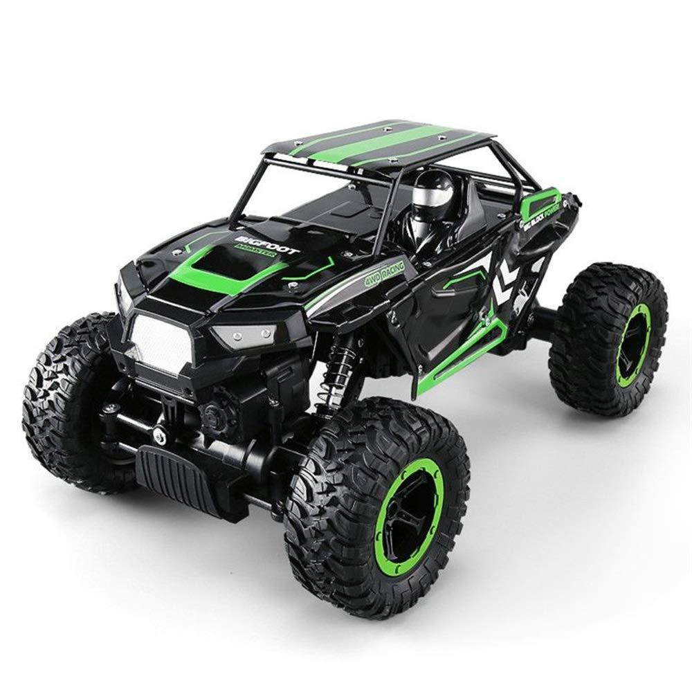 Pinjeer 2.4G 4WD 1:14オフロードバギーミニRCカーダブルモーターロッククローラーラリークライミングカーリモートコントロールビッグフットカーズモンスタートラックキッズ5+ (Color : Green, サイズ : 2-Battery) B07R338BT1 Green 2-Battery