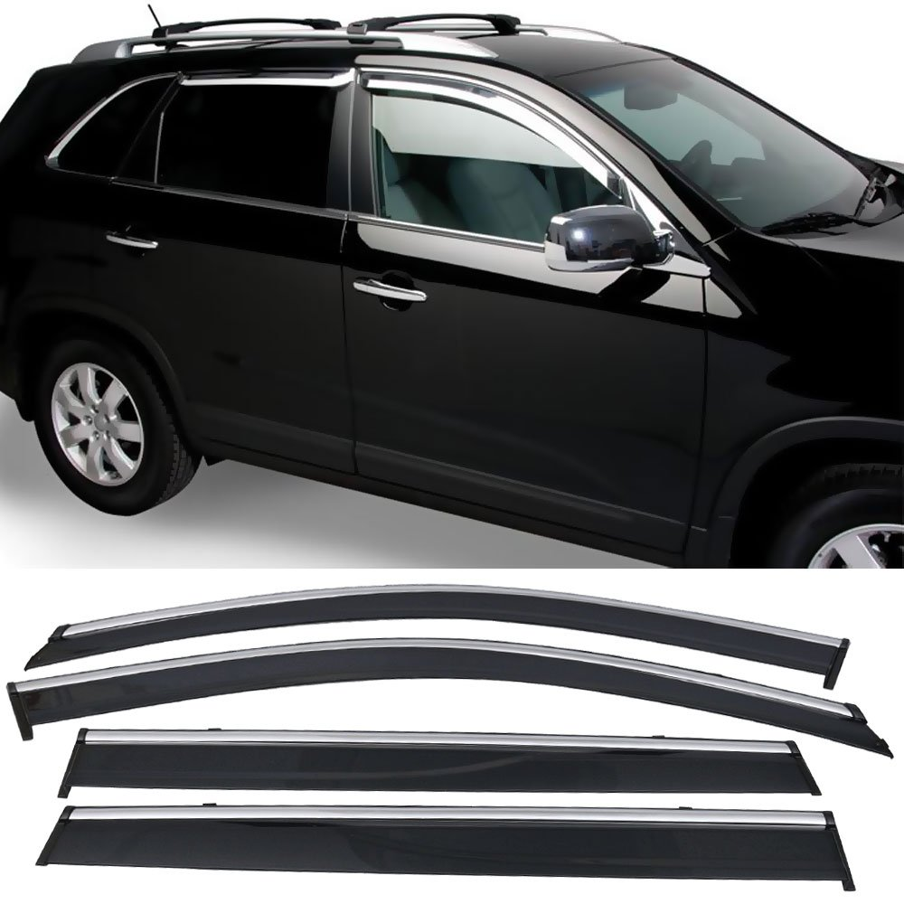 Window Visor Fits 2014-2018 JEEP CHEROKEE | Injection W Chrome Trim PC Window Visor Rain Guard Shade by IKON MOTORSPORTS | 2015 2016 2017