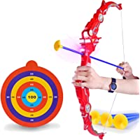 Sanwooden Interesting Toy Bow Arrow Toy&Target&Rope Foldable Archery Bow Arrow Target Simulation Shooting Outdoor Game Kids Toy Toys for All Ages