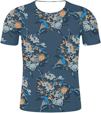 LEKODE Men T-Shirt Fashion Printed Pocket Short Sleeve Cotton Tops