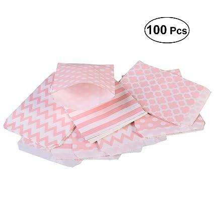 BESTOYARD 100pcs Diferentes patrón de cumpleaños Boda Candy Bar Bolsas de Regalo de Fiesta Bolsa de Papel (Rosa)