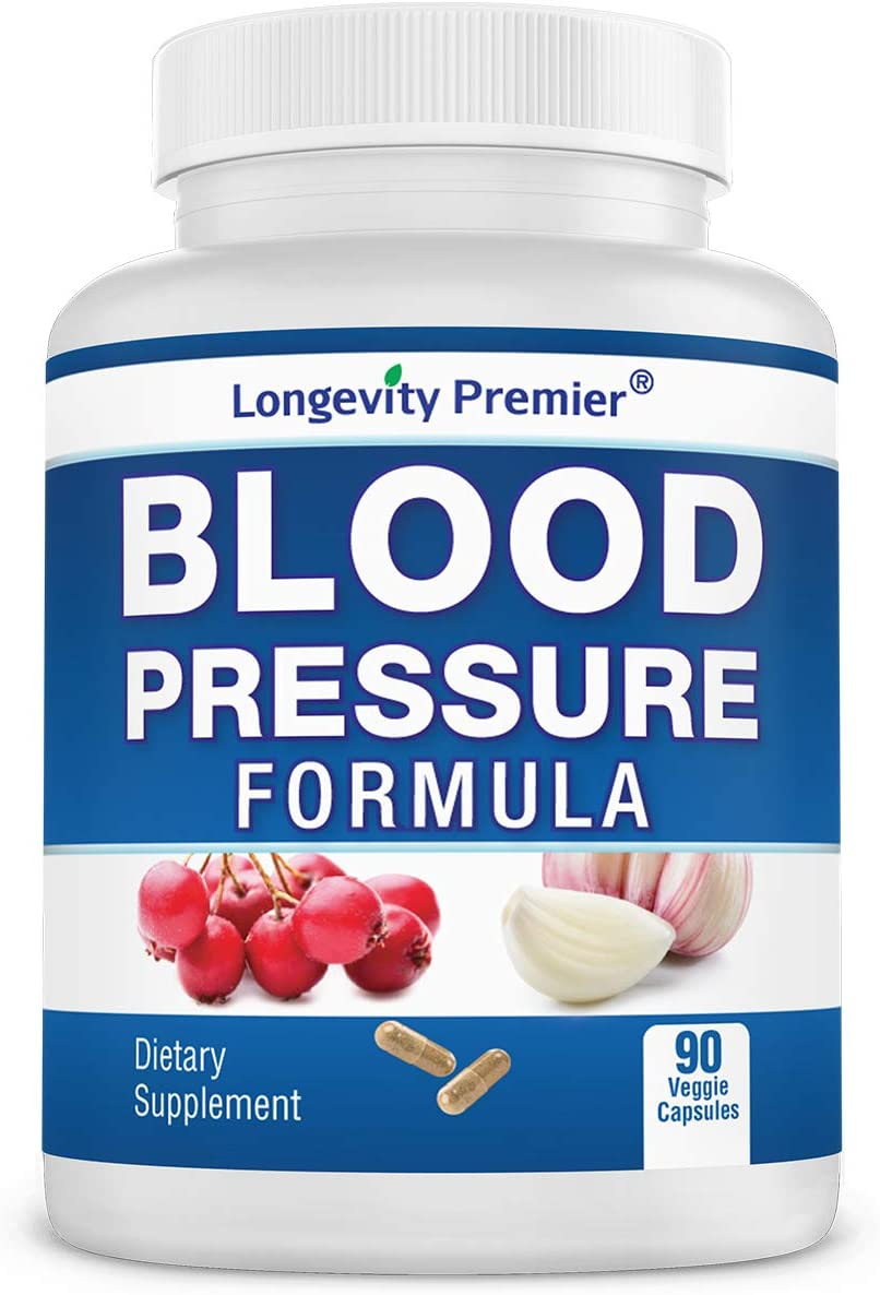 Longevity Blood Pressure Formula [90 Capsules] - with 12+ Natural Herbs. Best Blood Pressure Supplement