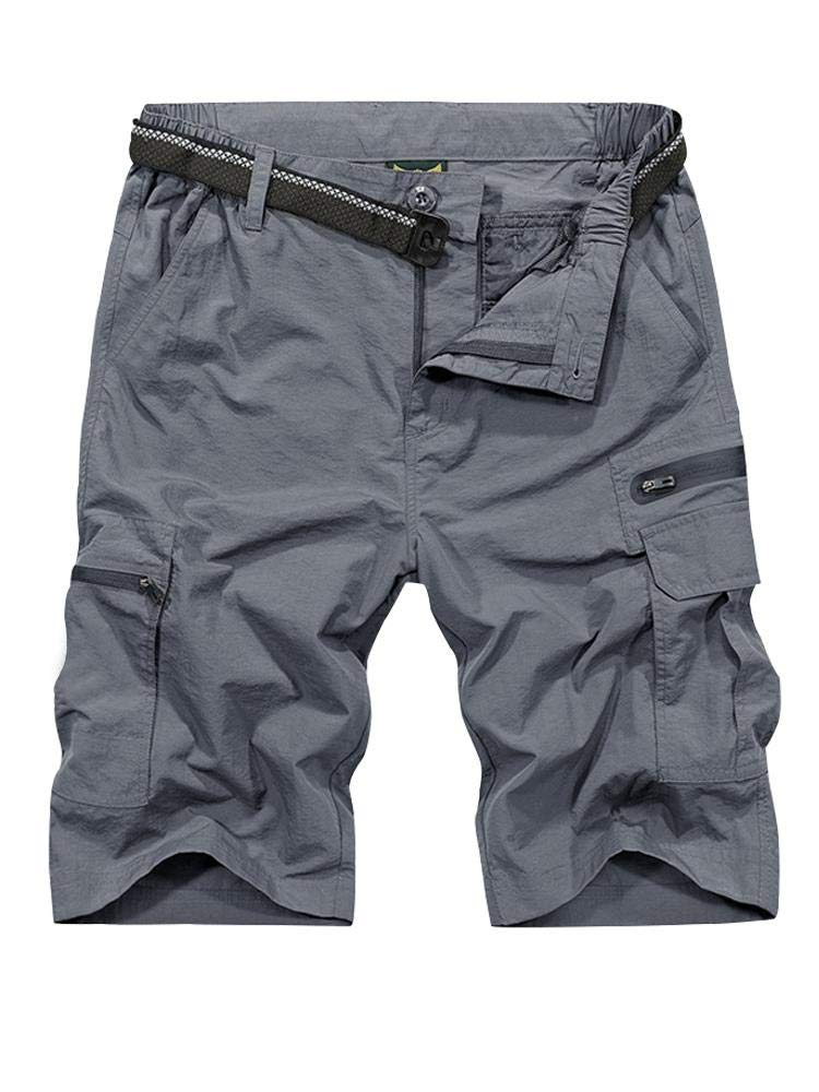 Men's Outdoor Tactical Shorts Lightweight Expandable Waist Cargo Shorts with Multi Pockets Quick Dry Water Resistant #6222, Grey, 40 by Toomett