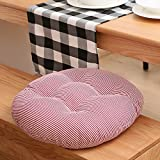 MEMORECOOL LIGHT UP YOUR HOME Pure Color Cotton Linen Round Floor Pillow Cushion, Japanese Futon Seat Cushion Thicken Chair Wave Window Pad 16 Inch, Red Stripe Set of 2