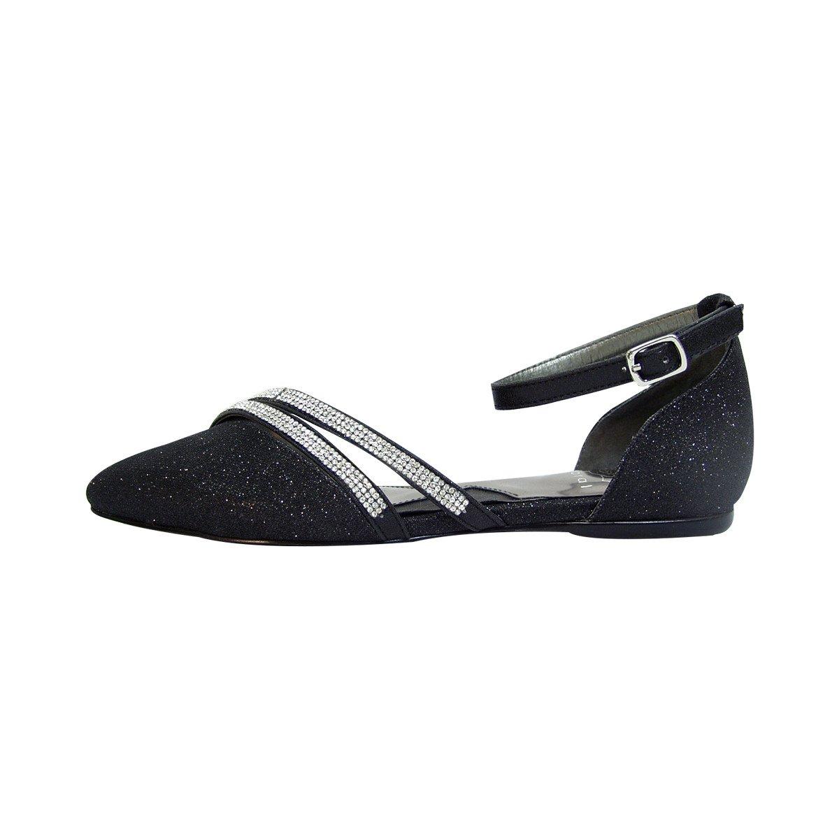 Fuzzy Hallie Women Wide Width Open Shank Pointed Toe Buckle Ankle Strap Flats (Size & Measurement) B0773W8FNR 12 D|Black