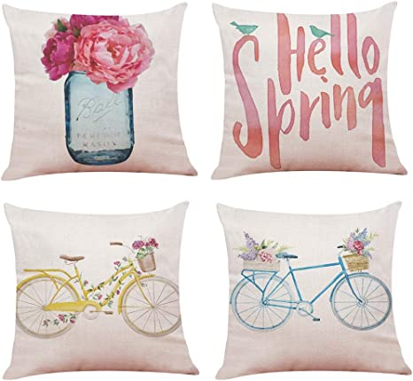 Youngnet Spring Theme Flower Bicycle Throw Pillow Covers 18x18 inch Cotton Linen Cushion Cases Home Decor, Set of 4 best spring home decor