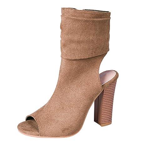 a8246138e12d Amazon.com  Women s Ladies Ankle Boots Square High Heel Fish Mouth Flock  Roman Shoes Sandals Side Zipper  Home Audio   Theater