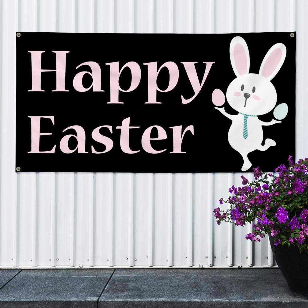 One Banner 48inx96in Vinyl Banner Sign Happy Easter #2 Style A Lifestyle Marketing Advertising Black 8 Grommets Multiple Sizes Available
