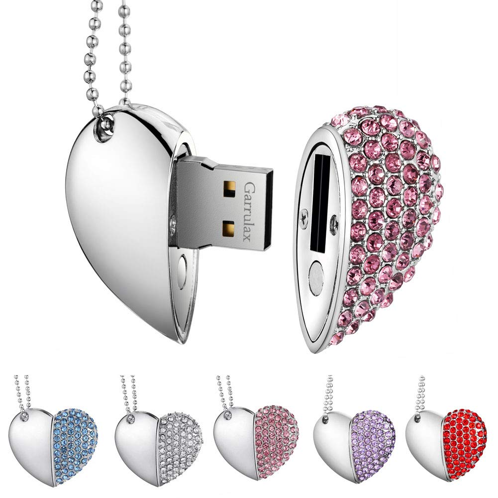 Premium imperm/éable cl/é USB2.0 32Go Cles USB Type de Coeur Diamant Stockage de donn/ées Haute Vitesse Memory Stick Pendrive Garrulax Cle USB 8Go 16 Go