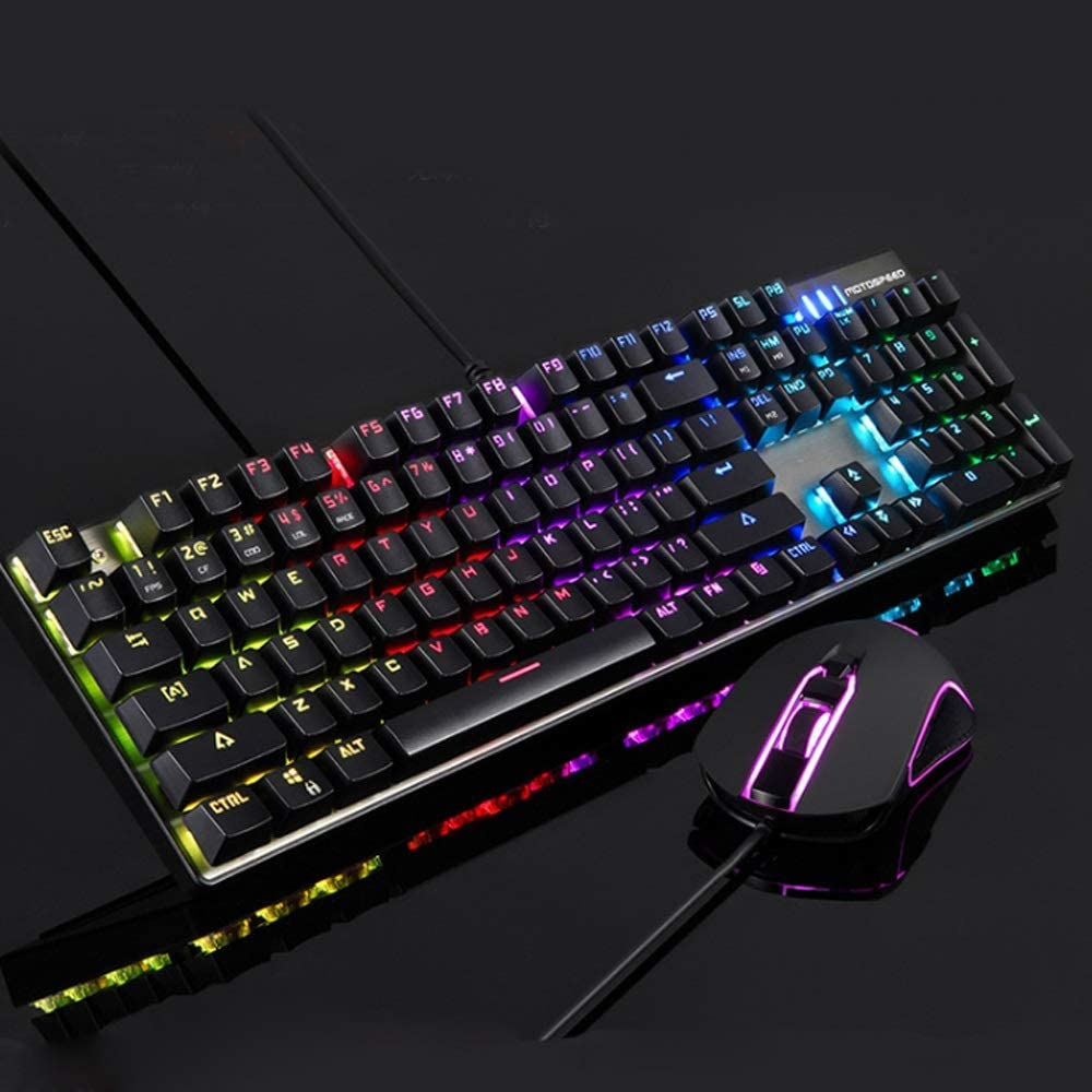 Mechanical Keyboard Wired Keyboard Mouse Set Gaming Mouse RGB Stream Lights Full Color RGB Green Axis Mechanical Keyboard