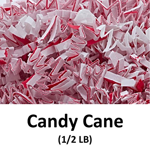 Crinkle Cut Paper Shred Filler (1/2 LB) for Gift Wrapping & Basket Filling - Candy Cane | MagicWater Supply (Candy Cane Purple)