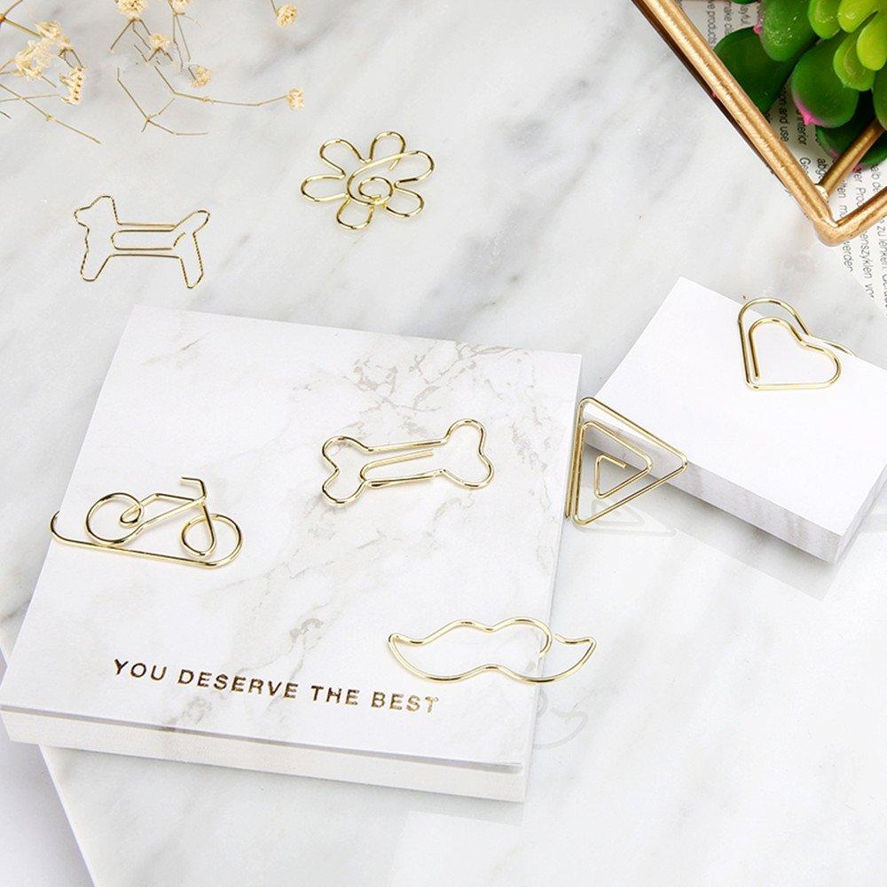 Fahrrad Hund Triangle Form Heart shape multibey Gold Papier Clips Creative Lesezeichen HERZEN Bone Bart Blume