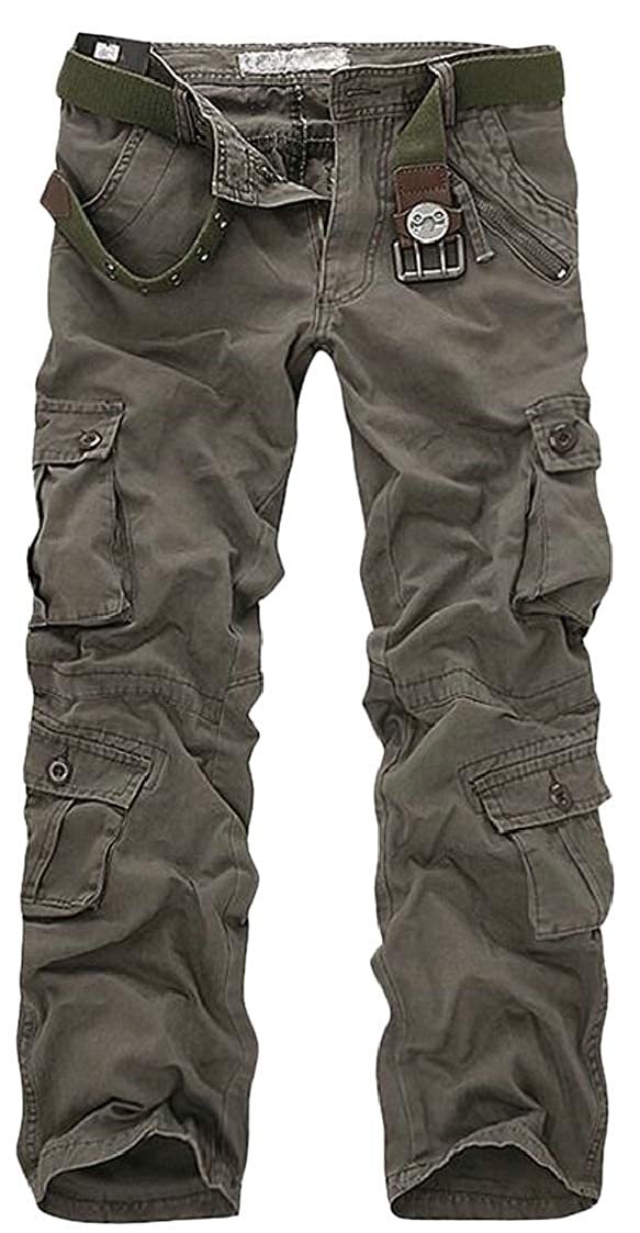 Pcutrone Men Washed Relaxed Pleated Multi Pocket Zipper Straight Cargo Pants