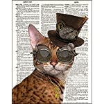 Fresh Prints of CT Dictionary Art Print - Steampunk Clockwork Kitty Cat - Printed on Recycled Vintage Dictionary Paper… 7