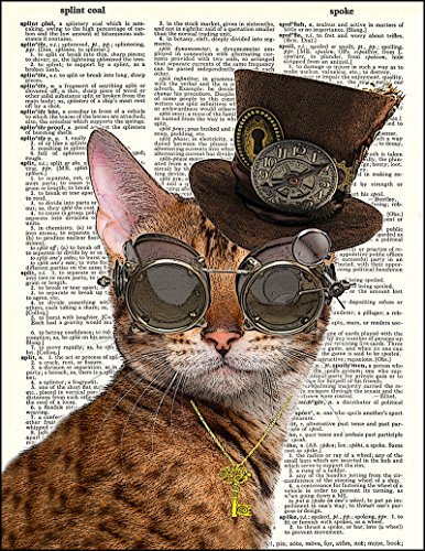 Fresh Prints of CT Dictionary Art Print - Steampunk Clockwork Kitty Cat - Printed on Recycled Vintage Dictionary Paper… 4