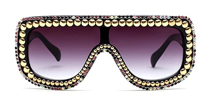 0c7df748b521 Amazon.com  Slocyclub Women Rectangular Goggle Flat Top Oversized Sunglasses  with Rhinestone  Clothing