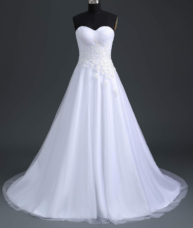 Romantic-Fashion Brautkleid Hochzeitskleid Wei/ß Modell W194 A-Linie Stickerei Satin tr/ägerlos DE