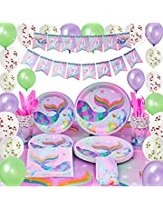 WERNNSAI Mermaid Party Supplies Kit - Birthday Party Decorations for Girls