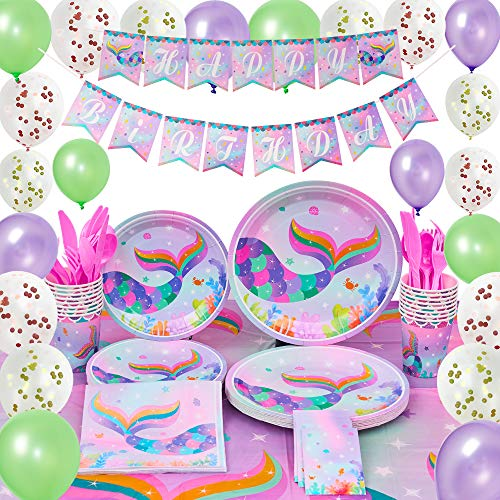 (WERNNSAI Mermaid Party Supplies Kit - Summer Pool Party Decorations for Girls Mermaid Sparkle Birthday Banner Balloons Tablecloth Plates Cups Napkins Tableware Utensils Serves 16 Guests 153 PCS)