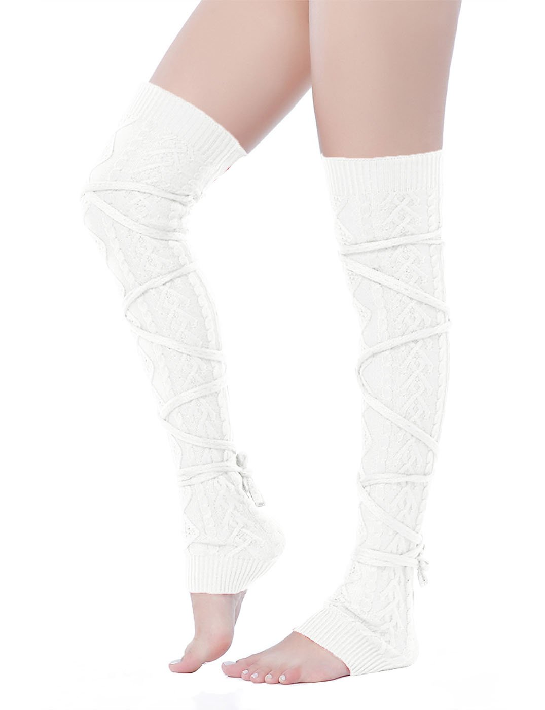 V28 Women Over Knee Lace up Tie Cable Knit Ribbed Crochet Long Boot Leg Warmers (L-XL, White)