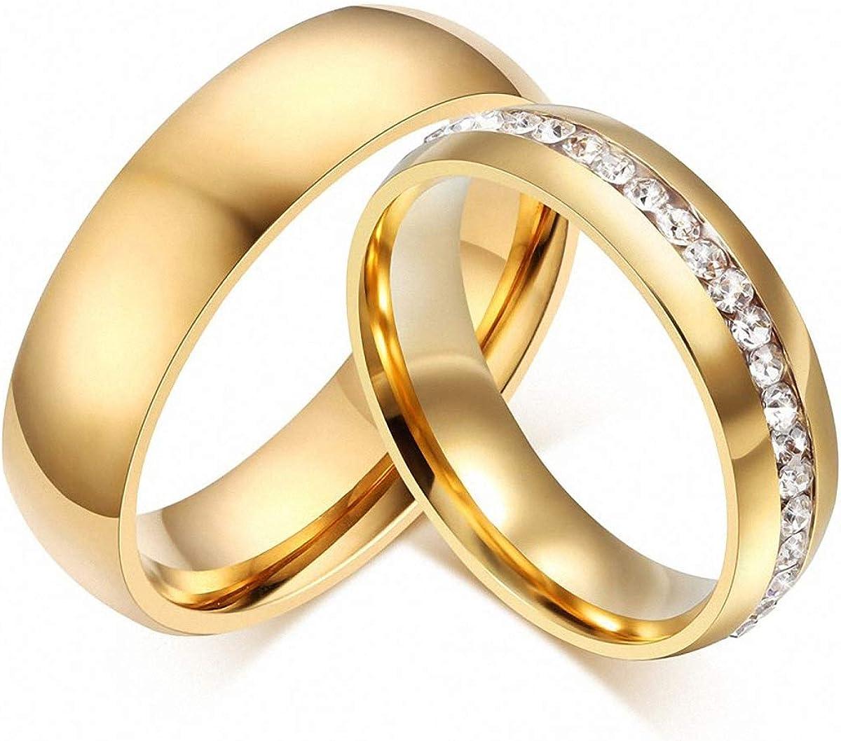 Amazon Com Gold Ring Women Men 6mm Stainless Steel Engagement Ring Cz Stone Couple Wedding Ring Women 13 Clothing