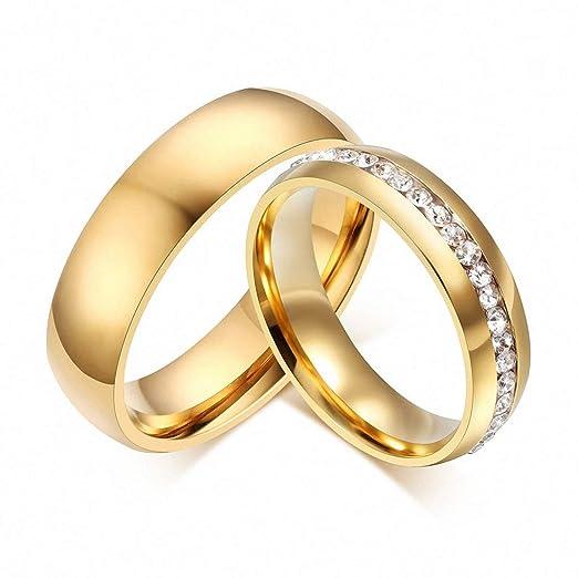 d775d20d3ff87 Amazon.com: Gold Ring Women Men 6mm Stainless Steel Engagement Ring ...