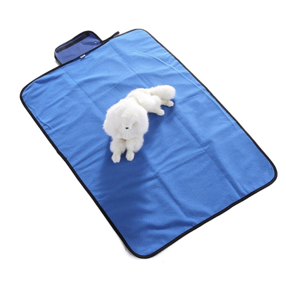 Happy- little -bear Coperta dell'animale Domestico Pieghevole Esterna Impermeabile Caldo stuoia dell'animale Domestico (Blu, S)
