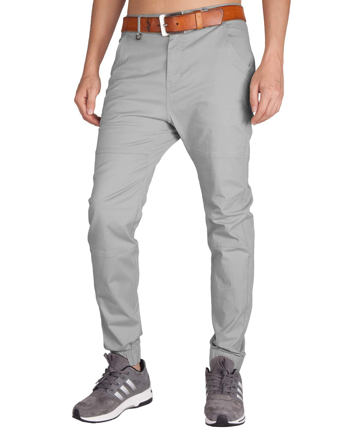 ITALY MORN Men's Chino Jogger Pants Slim Fit Elastic Cuff
