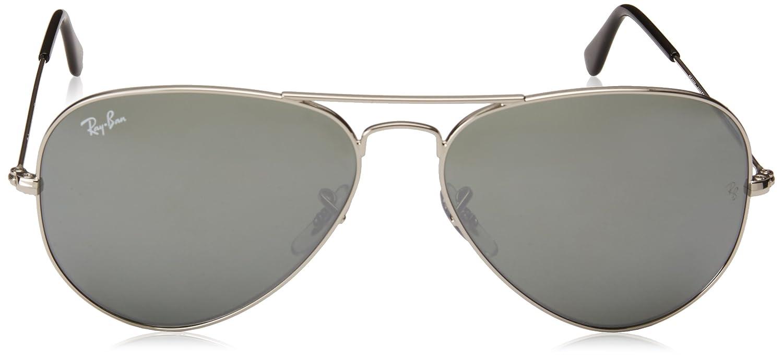 RayBan Aviator RB3025 W3277 58 Silver/Crystal Grey Mirror: Amazon.de ...
