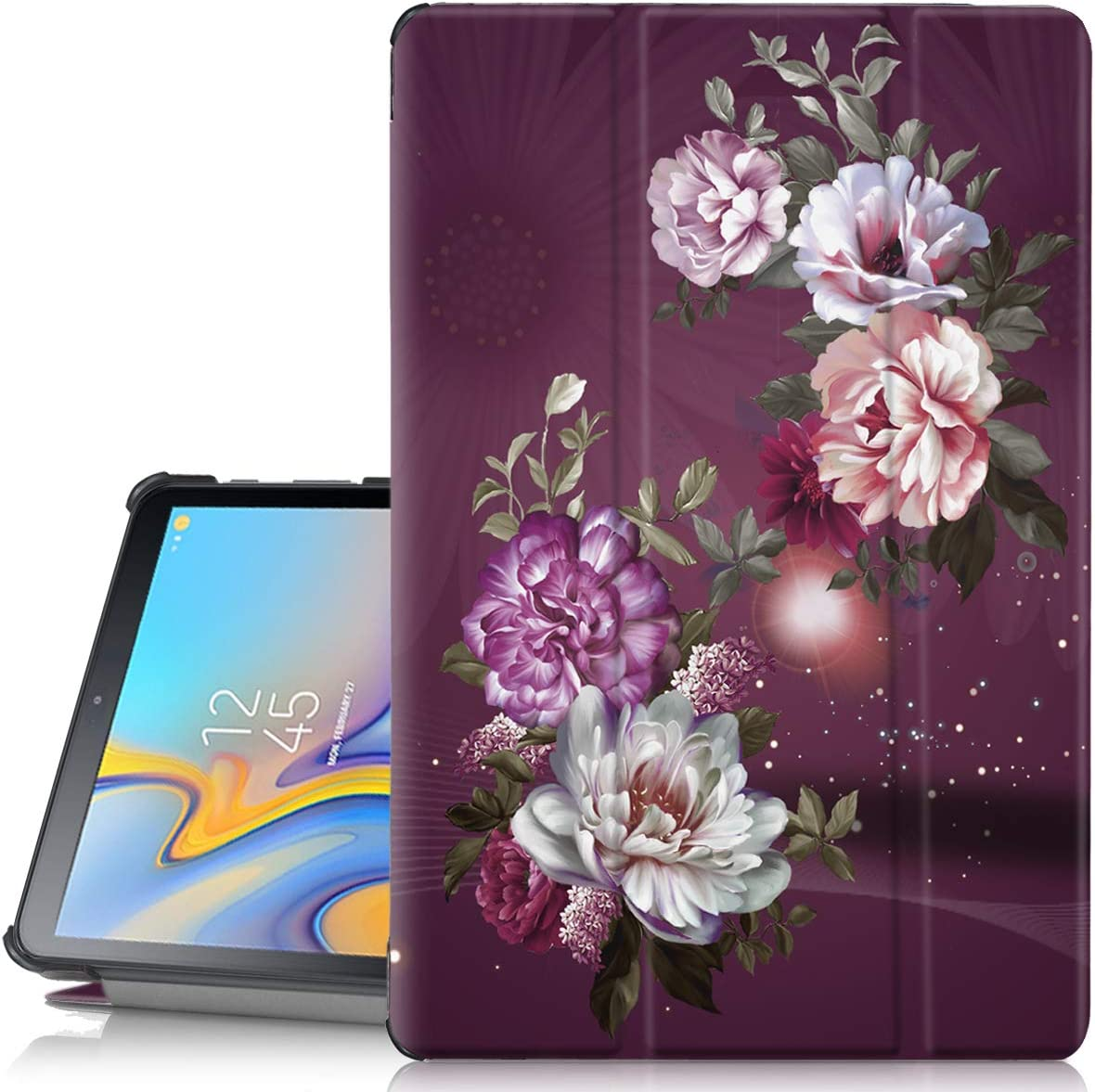 Hocase Galaxy Tab A 10.5 Case, PU Leather Folio Smart Case w/Unique Flower Design, Auto Sleep/Wake Feature, Microfiber Lining Hard Back Cover for SM-T590/SM-T595 - Burgundy Flowers