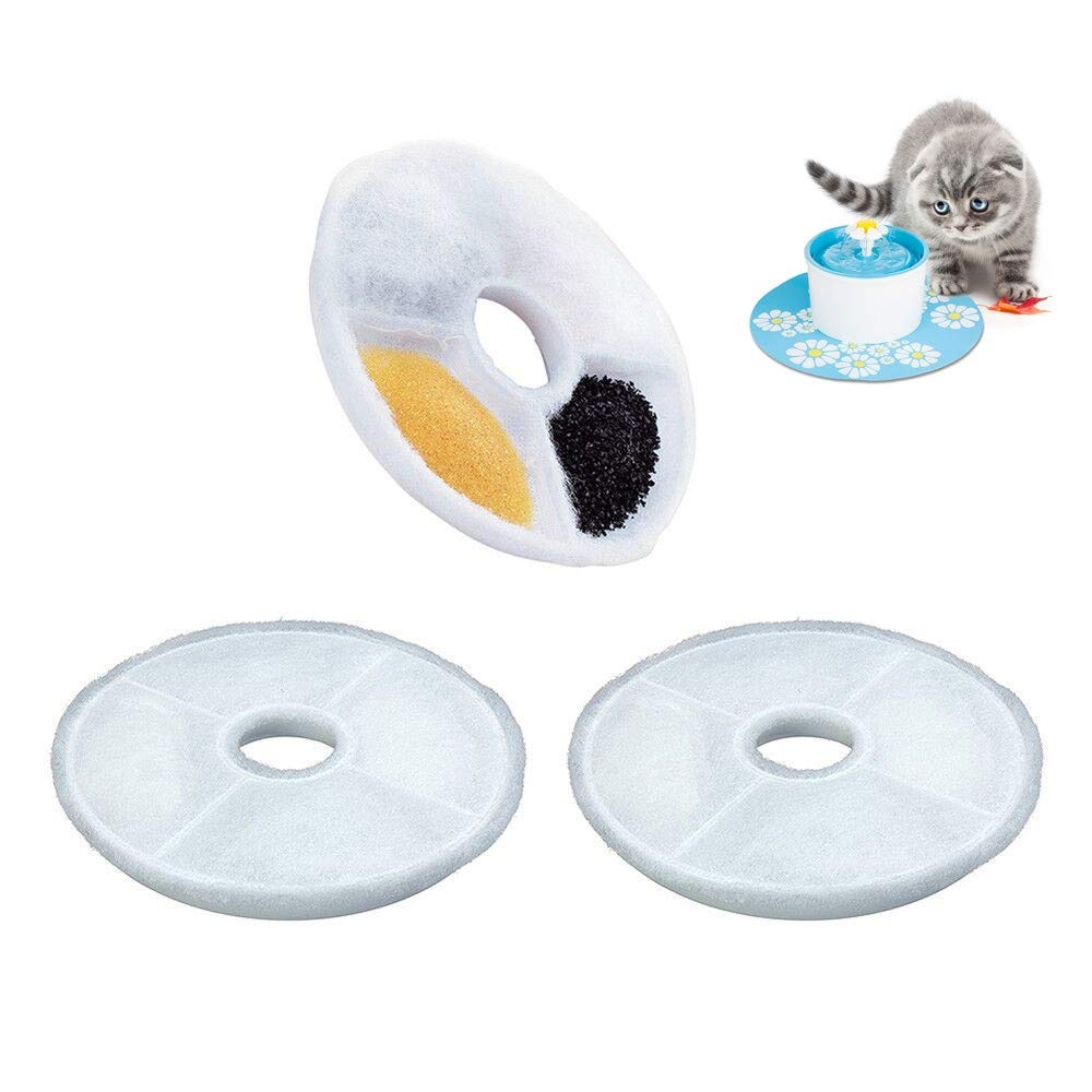 lotus.flower 1/2Pcs Replacement Filters Pet Fountain - Automatic Flower Water Dispenser Compatible Cats Dogs (2Pcs)