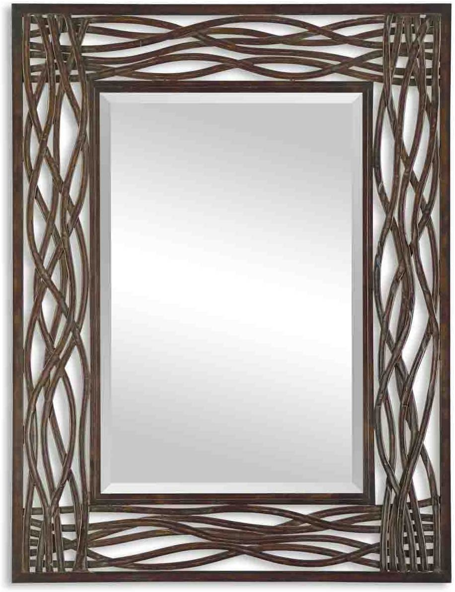 Uttermost Dorigrass Distressed Mocha Brown Wall Mounted Mirror – 13707