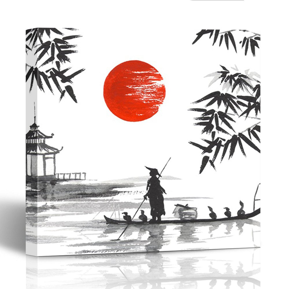 Amazon com emvency painting canvas print wooden frame red bamboo japan traditional japanese painting sumi e man with boat paint china 20x20 inches wall