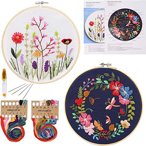 Qlten 2 Pack Embroidery Starter KitPattern and InstructionsCross Stitch Kits Include 2 Embroidery ClothesFloral Pattern 2 Plastic Embroidery Hoops Color Threads and Tools