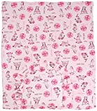BlueberryShop Reversible Minky Cotton Quilt and Pillow Set for Pram/Crib/Moses, Pink, 2-Piece