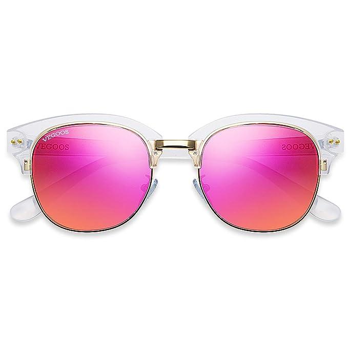 VEGOOS Semi Montura Gafas de sol Polarizadas para Mujeres Vintage Clubmaster con Remaches Metálicos 9063C3
