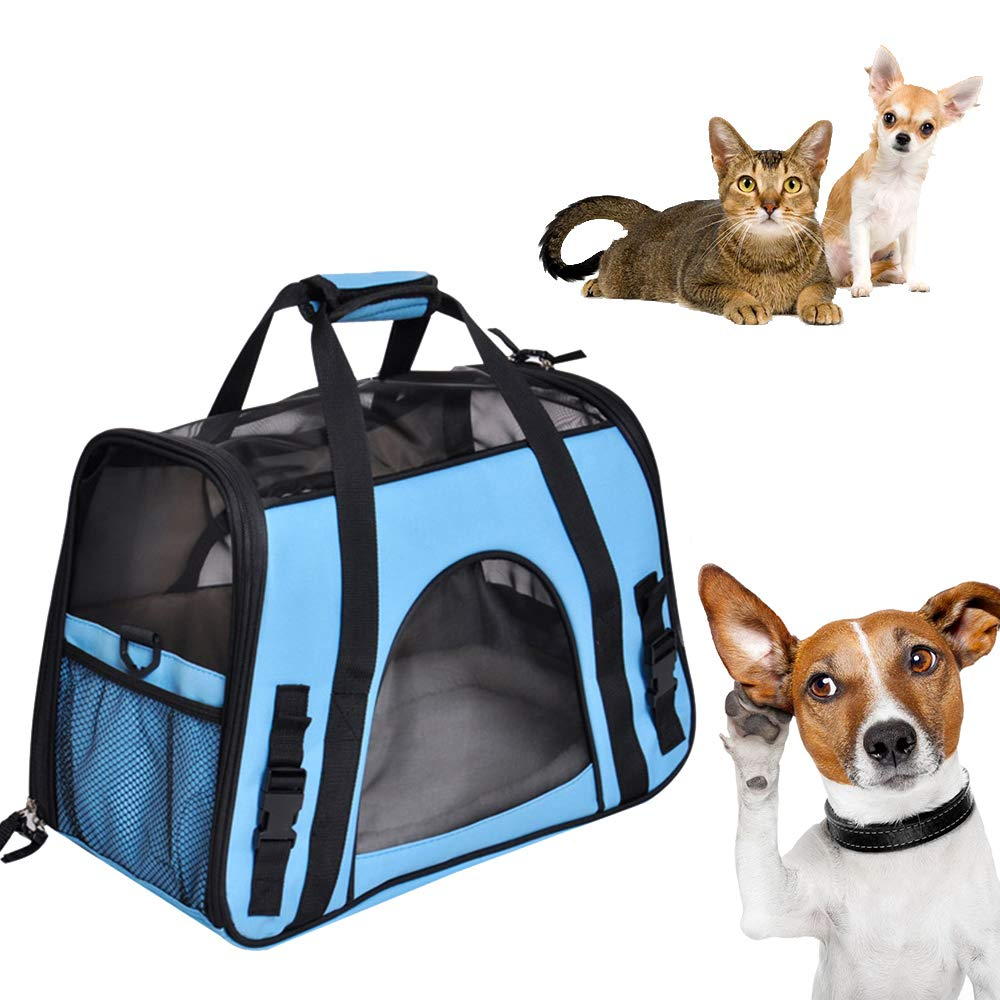 Pet Bag Breathable Folding Outdoor Travel Bag Cat and Dog Comfortable Portable Folding Bag Waterproof Fabric Travel Bag Airline Approved Pet Bag Cage