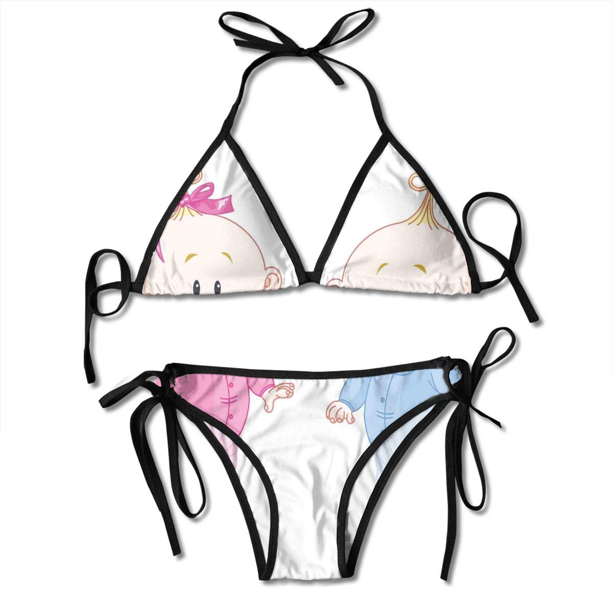 TYANG Womens Tie Side Bottom Padding Triangle Bikini Swimsuits,Cheerful Boy and Girl Children with Bunny Pacifiers Twins,Bikini Sets Beach Swimwear Bathing Suit