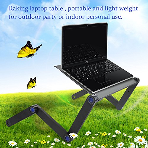 Raking Laptop Table/Desk/Stand Portable Folding Table-in Bed,Sofa,Carpet Tray Book Stand with CPU FAN Cooling Pad,Notebook Macbook Ergonomic TV Bed Lap Tray Stand Up Sitting(Black) by Raking (Image #5)