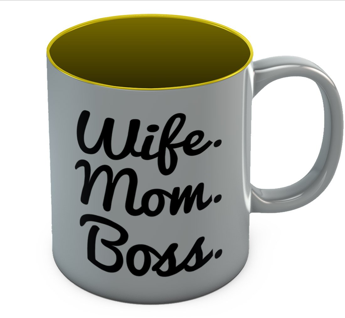 Wife Mom Boss Coffee Mug - Best Mother's Day Gift Idea For Mom. Unique Tea Cup For Women, Birthday / Christmas Gift for Mother From Kids, Gift For Wife From Husband Sturdy Ceramic Mug 11 Oz. Blue GM0P0ltgWWwP0Ww9ll6F