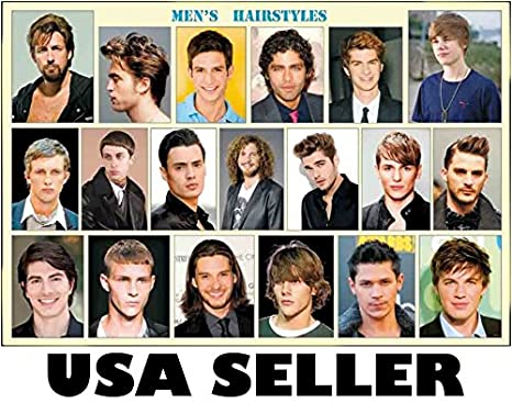 w Mens celebrity hairstyles horiz POSTER #A 34 x 23.5 with 19 hair styles  salon men\'s haircut guide (sent FROM USA in PVC pipe)