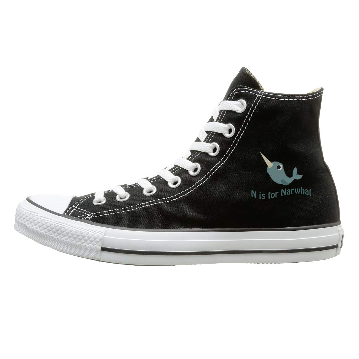 Sakanpo N is for Narwhal Canvas Shoes High Top Casual Black Sneakers Unisex Style