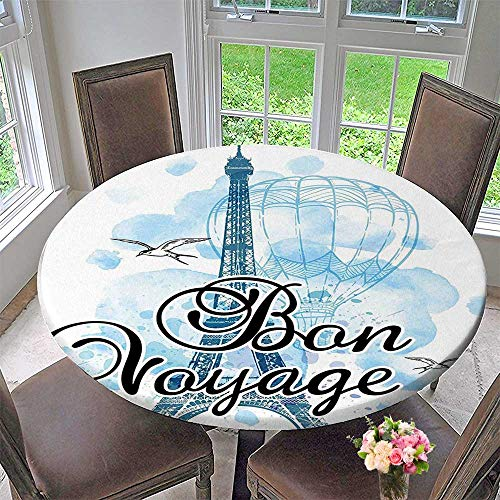 Mikihome Luxury Round Table Cloth for Home use Party Decorations Eiffel Tower Air Balloon Watercolor Bon Voyage Bird Light Blue Black for Buffet Table, Holiday Dinner 63
