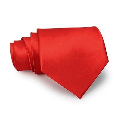 Hombre Camisa Corbata Estrecha Rojo Seda corbata Señor joyas ...