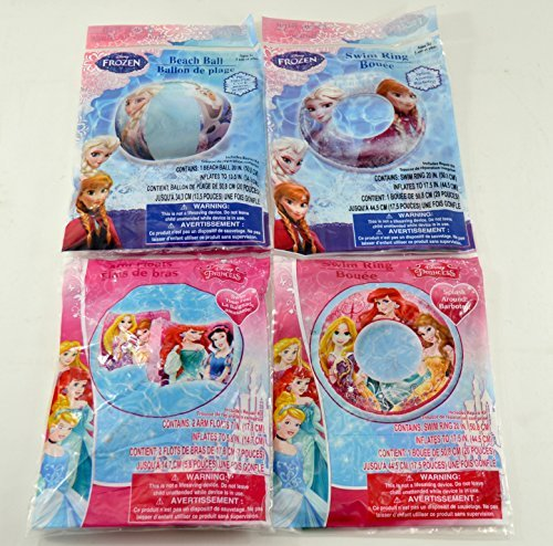 Disney Princess and Frozen Inflatable Swim Summer Fun Package Deal (Beach Ball, Arm Floaties, 2 Swim Rings) by Disney (Image #1)