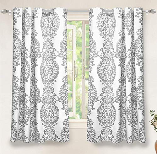 DriftAway Samantha Thermal/Room Darkening Grommet Unlined Window Curtains, Floral/Damask Medallion Pattern, Set of Two Panels, Each (52