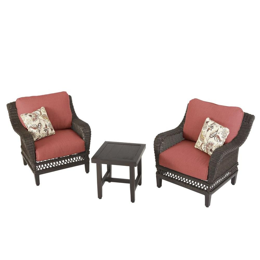 Amazon.com : Woodbury 3 Piece Patio Seating Set With Dragon Fruit Cushions  : Garden U0026 Outdoor